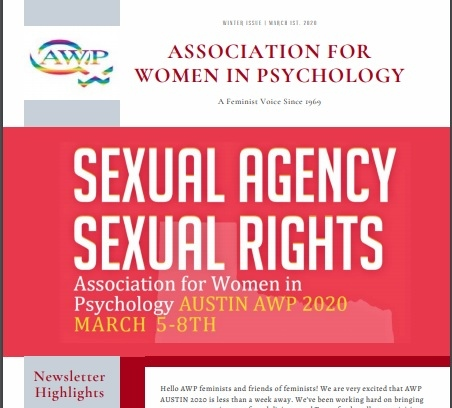"Captured picture of the AWP Newsletter, contains pink ad stating ""Sexual Agency Sexual Rights"" the 2020 AWP Conference Theme"