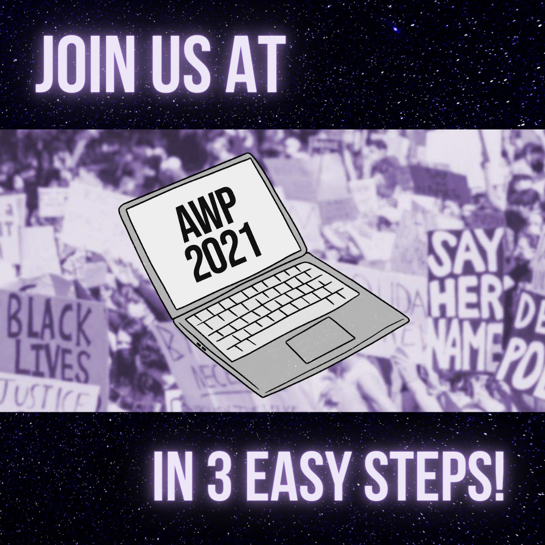 Background of purple protest signs with a silver laptop that says AWP 2021 and text above and below that says Join us at AWP 2021 in 3 easy steps